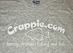 Crappie.com T-Shirt - Family Friends Fishing Fun Design - Short Sleeve;  OPTIONAL:  Long Sleeve OR Short Sleeve with Pockets are available too, just select the correct style when ordering.